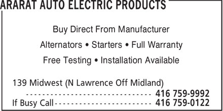 Ararat Auto Electric Products (416-759-9992) - Annonce illustrée - Buy Direct From Manufacturer Alternators • Starters • Full Warranty Free Testing • Installation Available