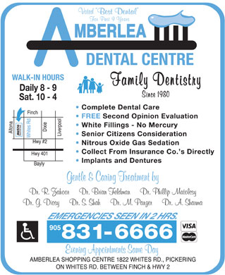 Amberlea Dental Centre (905-831-6666) - Display Ad - 905 905