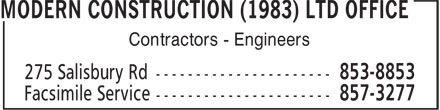 Modern Construction (1983) Ltd Office (506-853-8853) - Display Ad - Contractors - Engineers  Contractors - Engineers