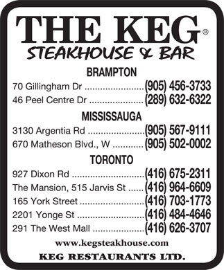 Keg Steakhouse & Bar (905-456-3733) - Annonce illustrée