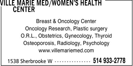 Ville Marie Med/Women's Health Center (514-933-2778) - Display Ad
