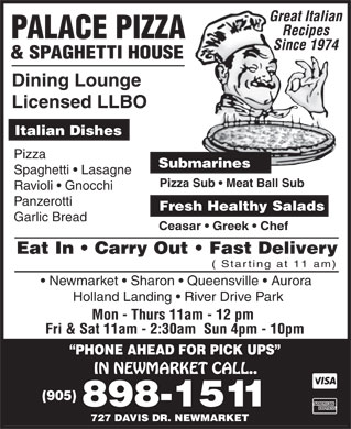 Palace Pizza & Spaghetti House (905-898-1511) - Display Ad