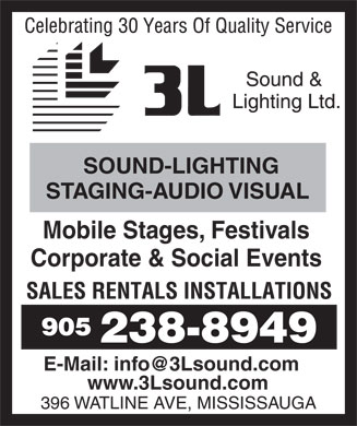 3L Sound and Lighting Ltd (905-238-8949) - Annonce illustrée