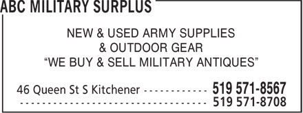 ABC Military Surplus (519-571-8567) - Annonce illustrée - NEW & USED ARMY SUPPLIES & OUTDOOR GEAR ¿WE BUY & SELL MILITARY ANTIQUES¿