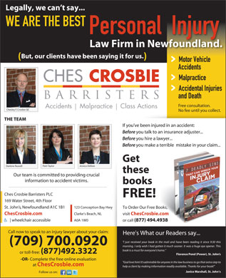 Ches Crosbie Barristers (709-701-2352) - Annonce illustr&eacute;e
