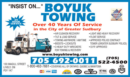 Boyuk Towing (705-522-4500) - Display Ad