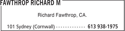 Fawthrop Richard M (613-938-1975) - Annonce illustrée - Richard Fawthrop, CA.