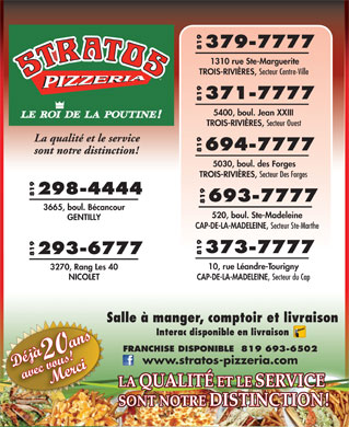 Pizzeria Stratos (819-801-1189) - Annonce illustr&eacute;e