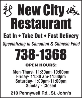 New City Restaurant (709-738-1368) - Annonce illustrée