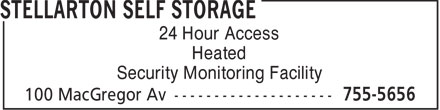 Stellarton Self Storage (902-755-5656) - Annonce illustrée - 24 Hour Access Heated Security Monitoring Facility  24 Hour Access Heated Security Monitoring Facility