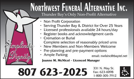 Northwest Funeral Alternative Inc (807-623-2025) - Display Ad