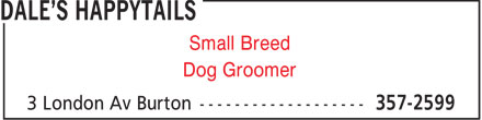 Dale's Happytails (506-357-2599) - Annonce illustrée - Dog Groomer Small Breed