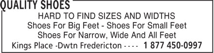 Quality Shoes (506-458-0997) - Annonce illustrée - HARD TO FIND SIZES AND WIDTHS Shoes For Big Feet - Shoes For Small Feet Shoes For Narrow, Wide And All Feet