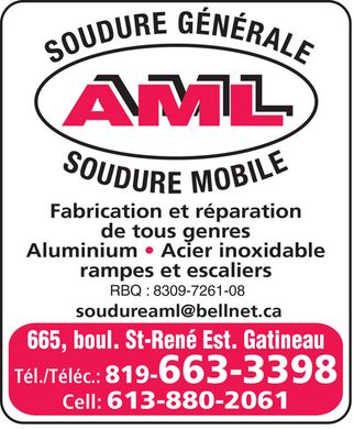 Soudure Aml (819-663-3398) - Display Ad