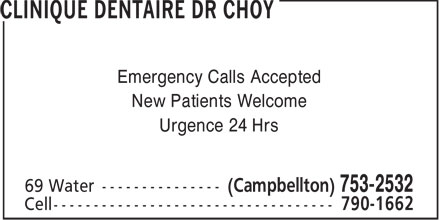 Clinique Dentaire Dr Choy (506-753-2532) - Display Ad
