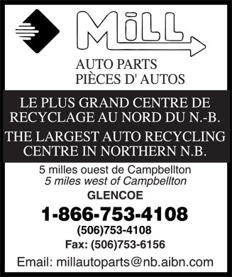 Mill Auto Parts Recycling (1-866-753-4108) - Display Ad
