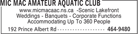 Mic Mac Amateur Aquatic Club (902-464-9480) - Annonce illustr&eacute;e - www.micmacaac.ns.ca -Scenic Lakefront Weddings - Banquets - Corporate Functions Accommodating Up To 360 People  www.micmacaac.ns.ca -Scenic Lakefront Weddings - Banquets - Corporate Functions Accommodating Up To 360 People