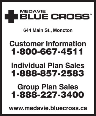 Medavie Blue Cross (506-853-1811) - Annonce illustrée