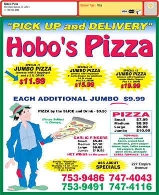 Hobo's Pizza (709-753-9486) - Menu