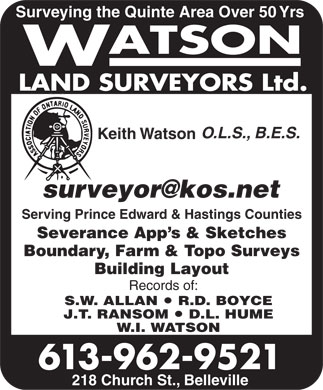 Watson Land Surveyors Ltd (613-962-9521) - Display Ad
