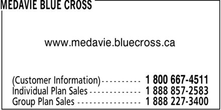 Medavie Blue Cross (1-800-667-4511) - Annonce illustrée