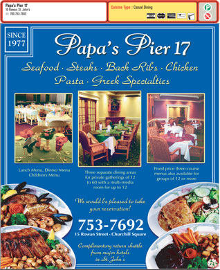 Papa's Pier 17 (709-753-7692) - Display Ad