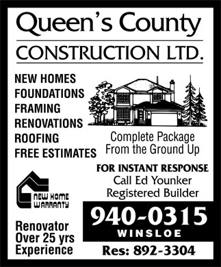 Queen's County Construction Ltd (902-940-0315) - Annonce illustr&eacute;e