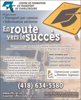 Centre de formation en transport deCharlesbourg (418-634-5580) - Annonce illustr&eacute;e