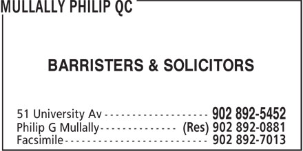 Mullally Philip QC (902-892-5452) - Display Ad - BARRISTERS & SOLICITORS