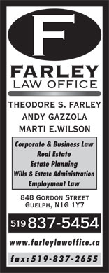 Farley Law Office (519-837-5454) - Annonce illustrée