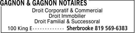 Gagnon & Gagnon Notaires (819-569-6383) - Annonce illustrée - Droit Corporatif & Commercial Droit Immobilier Droit Familial & Successoral  Droit Corporatif & Commercial Droit Immobilier Droit Familial & Successoral