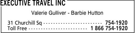 Executive Travel Inc (709-754-1920) - Display Ad - Valerie Gulliver Barbie Hutton