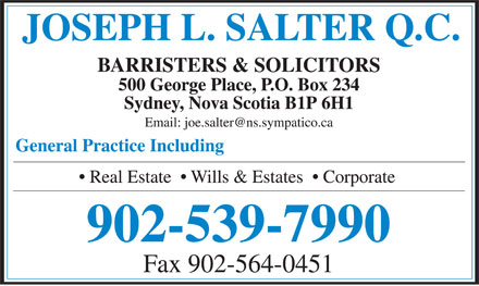 Salter Joseph L QC (902-539-7990) - Display Ad - 902-539-7990 Fax 902-564-0451 902-539-7990 Fax 902-564-0451