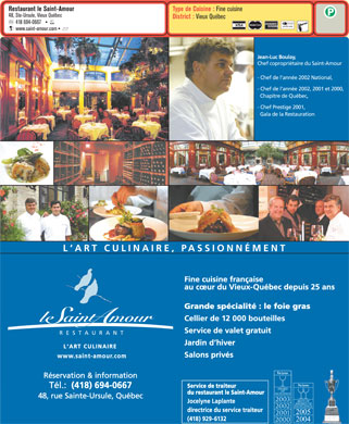 Restaurant Le Saint Amour (418-694-0667) - Menu