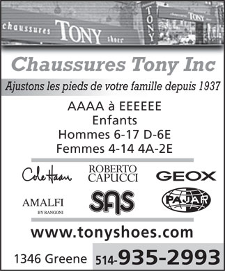 Tony Shoe Shop Inc (514-935-2993) - Annonce illustrée