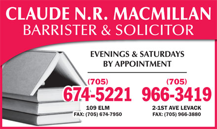 MacMillan Claude N R (705-674-5221) - Display Ad