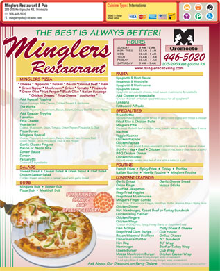 Mingler's Restaurant &amp; Pub (1-888-955-2726) - Menu