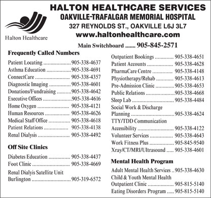 Halton Healthcare Services (905-845-2571) - Annonce illustrée - Patient Relations .................   905-338-4138