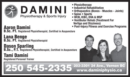 Damini Physiotherapy & Sports Injury (250-545-2335) - Annonce illustrée
