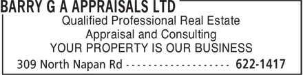 Barry G (506-622-1417) - Annonce illustrée======= - Qualified Professional Real Estate - Appraisal and Consulting - YOUR PROPERTY IS OUR BUSINESS