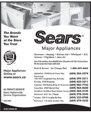 Sears Canada Inc (604-852-2198) - Display Ad