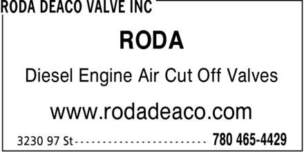 Roda Deaco Valve Inc (780-465-4429) - Display Ad - RODA Diesel Engine Air Cut Off Valves www.rodadeaco.com