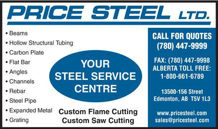 Price Steel Ltd (780-613-0216) - Display Ad