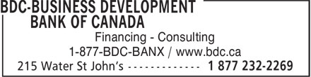 BDC-Business Development Bank Of Canada (709-772-5505) - Display Ad - Financing - Consulting 1-877-BDC-BANX / www.bdc.ca
