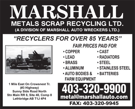 Marshall Metals Scrap Recycling Ltd (403-320-9900) - Annonce illustrée - BATTERIES