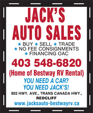 Jack's Auto Sales (403-548-6820) - Display Ad