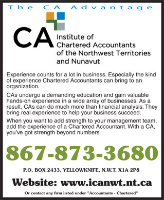 Institute Of Chartered Accountants Of The Northwest Territories & Nunavut (867-873-3680) - Annonce illustrée