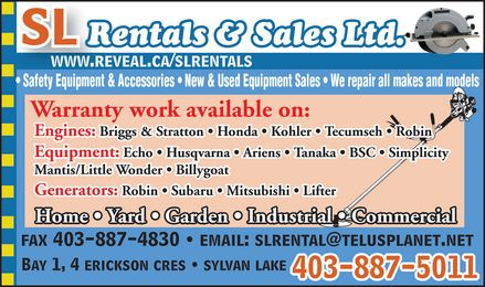 SL Rentals & Sales 2007 (403-887-9031) - Display Ad
