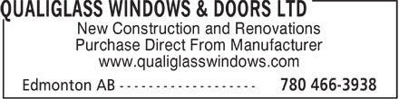 QualiGlass Windows & Doors Ltd (780-466-3938) - Annonce illustrée