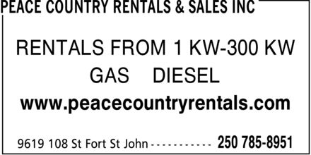 Peace Country Rentals (250-794-0940) - Display Ad - RENTALS FROM 1 KW-300 KW GAS  DIESEL www.peacecountryrentals.com